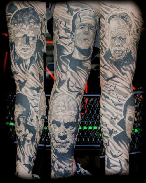 horror-movie-sleeve-tattoo-design