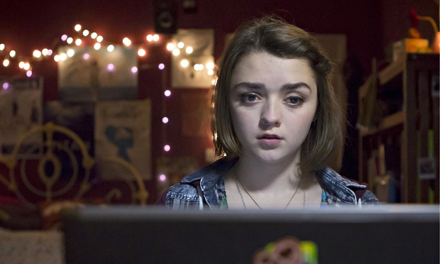 A fine mix of adolescent belligerence and vulnerability … Maisie Williams as Casey in Cyberbully. Ph